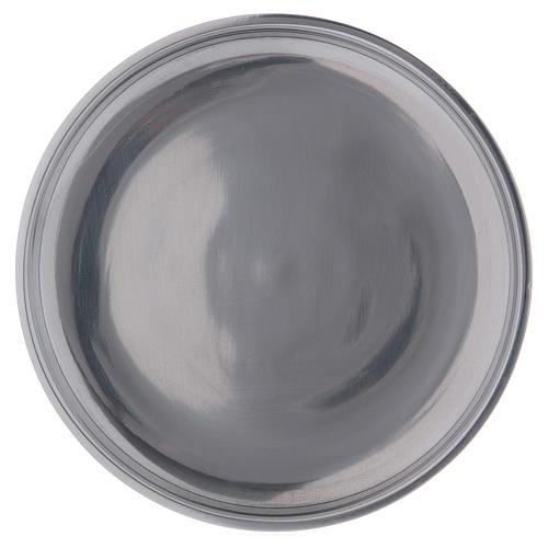Piatto portacandele bordo rialzato alluminio argentato 12 cm 1