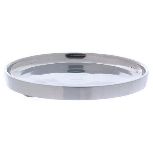 Piatto portacandele bordo rialzato alluminio argentato 12 cm 2