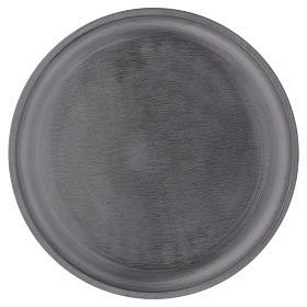 Portacandele diametro 14 cm alluminio argentato rotondo s1
