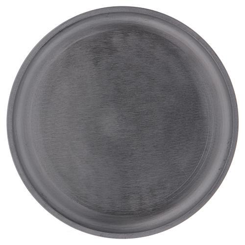 Portacandele diametro 14 cm alluminio argentato rotondo 1