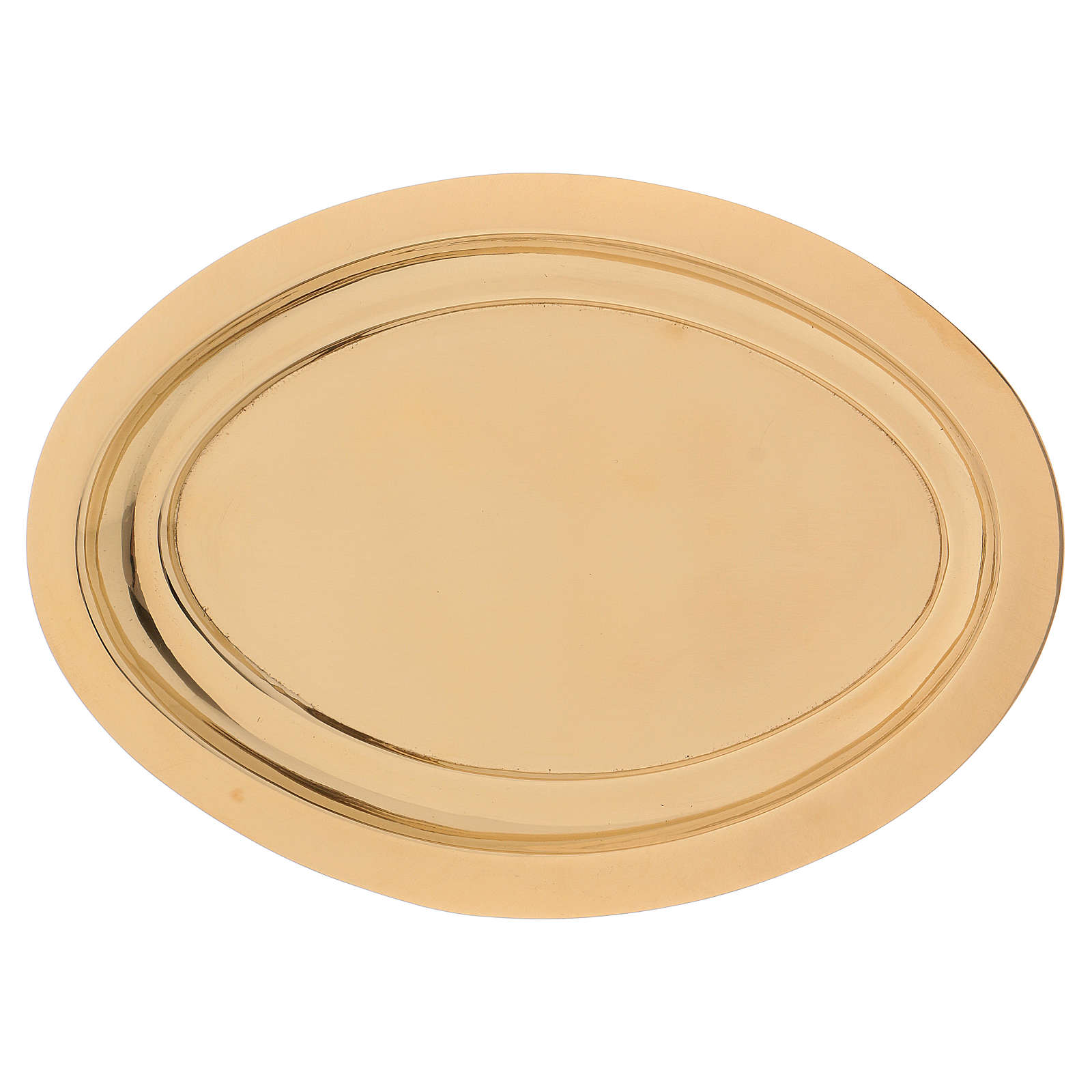 Portacandele ovale ottone dorato lucido 16x9,5 cm  3