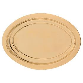 Portacandele ovale ottone dorato lucido 16x9,5 cm  s1