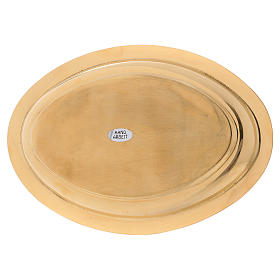 Portacandele ovale ottone dorato lucido 16x9,5 cm  s3