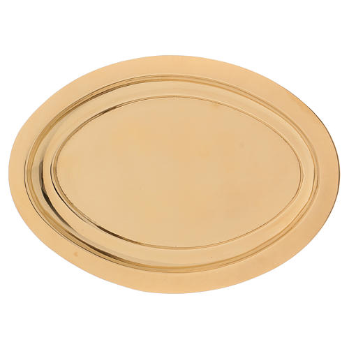 Portacandele ovale ottone dorato lucido 16x9,5 cm  1