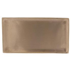 Piatto rettangolare portacandela ottone oro satinato 16,5x9 cm s1