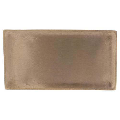Piatto rettangolare portacandela ottone oro satinato 16,5x9 cm 1