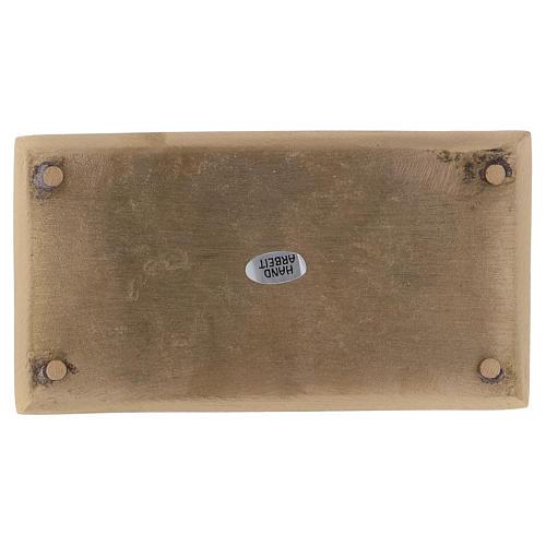 Piatto rettangolare portacandela ottone oro satinato 16,5x9 cm 3