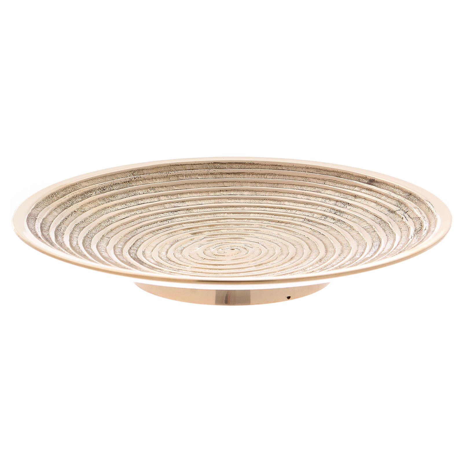 Plato portavela latón oro decoración espiral 15 cm 3