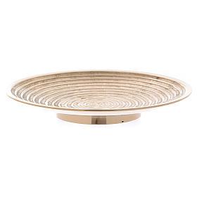 Plato portavela latón oro decoración espiral 15 cm s2