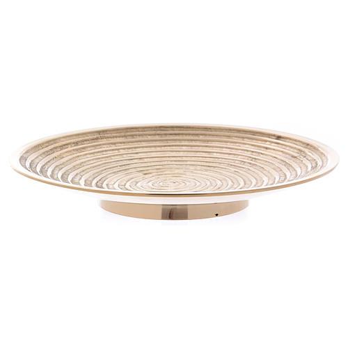 Plato portavela latón oro decoración espiral 15 cm 2