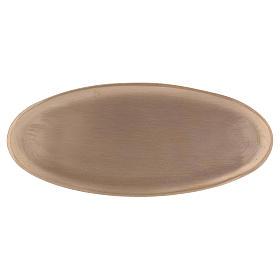Portacandele in ottone oro satinato forma ovale 16x7 cm s1