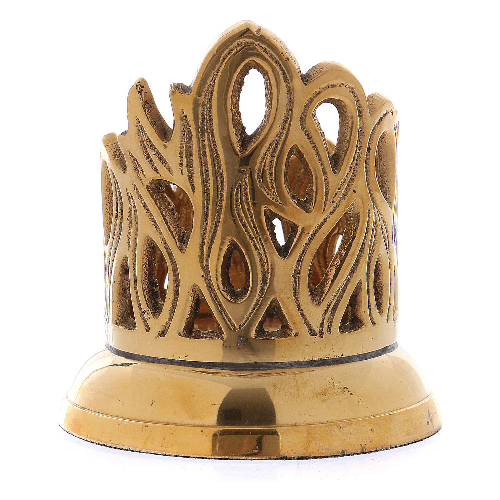 Candle holder in gold-plated brass with flame-shaped decoration 3 cm 4