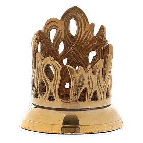 Candle holder in gold-plated brass with flame-shaped decoration 3 cm s1