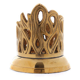 Candle holder in gold-plated brass with flame-shaped decoration 3 cm s2