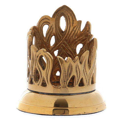 Candle holder in gold-plated brass with flame-shaped decoration 3 cm 1