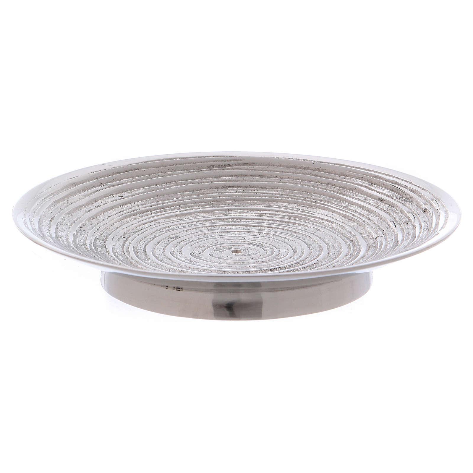 Piatto portacandele ottone nichelato spirale 11,5 cm 4