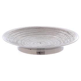 Piatto portacandele ottone nichelato spirale 11,5 cm s1