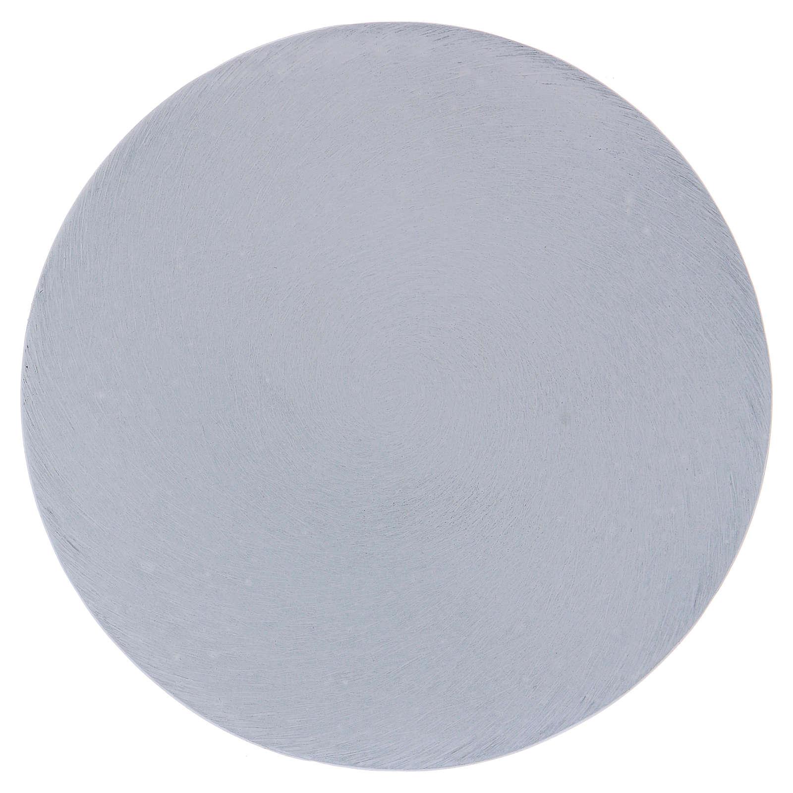 Piatto portacandele tondo alluminio bianco 12 cm  3