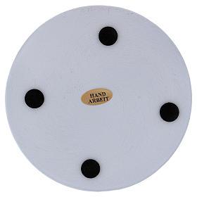 Piatto portacandele tondo alluminio bianco 12 cm  s2