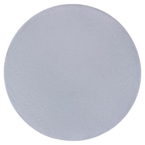 Piatto portacandele tondo alluminio bianco 12 cm  1