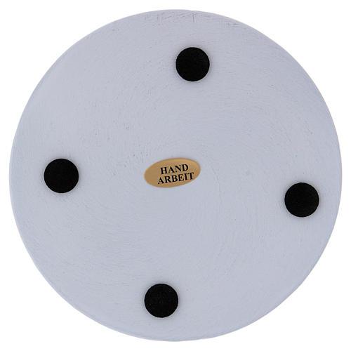 Piatto portacandele tondo alluminio bianco 12 cm  2