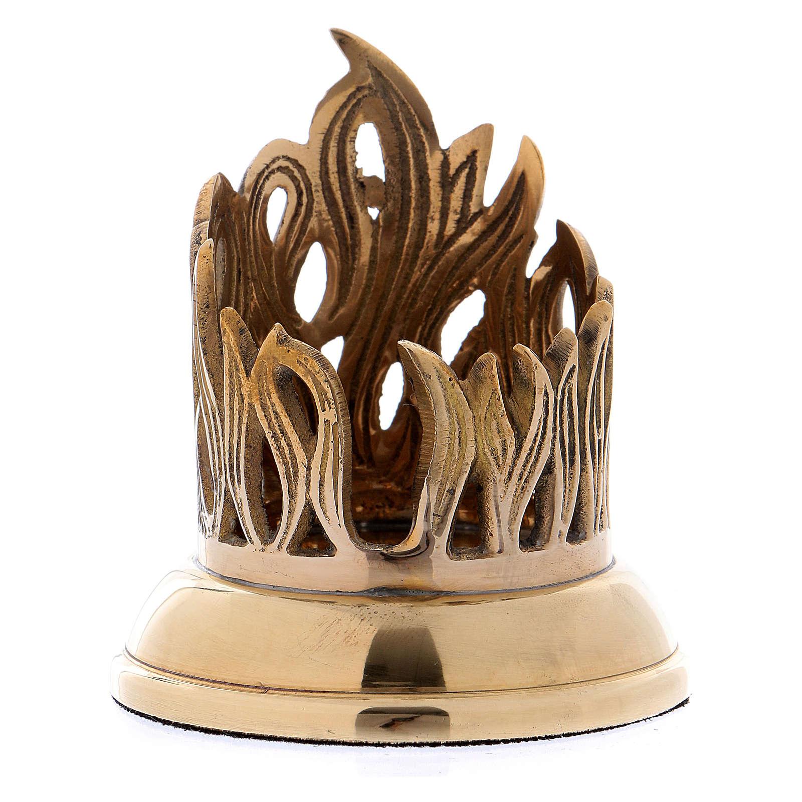 Portacandela decorazione traforata fiamma ottone dorato 4 cm 4