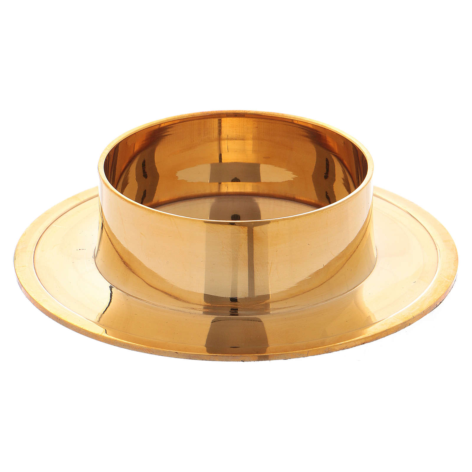 Round candle holder in glossy gold-plated brass 6 cm 4
