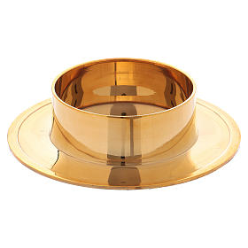 Round candle holder in glossy gold-plated brass 6 cm s1