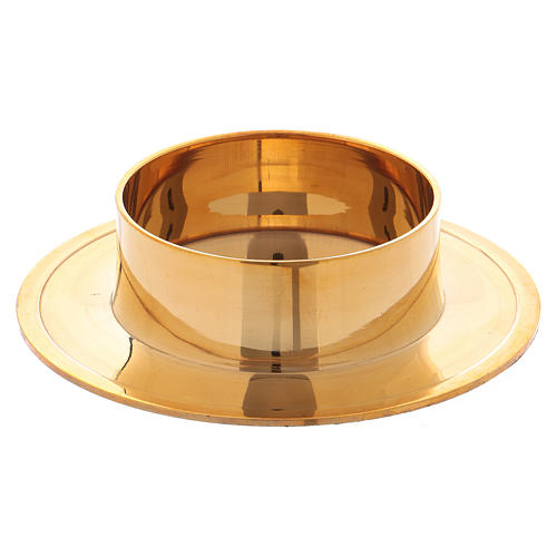 Round candle holder in glossy gold-plated brass 6 cm 1
