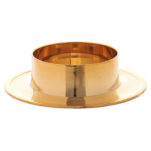 Round candle holder in glossy gold-plated brass 6 cm 2
