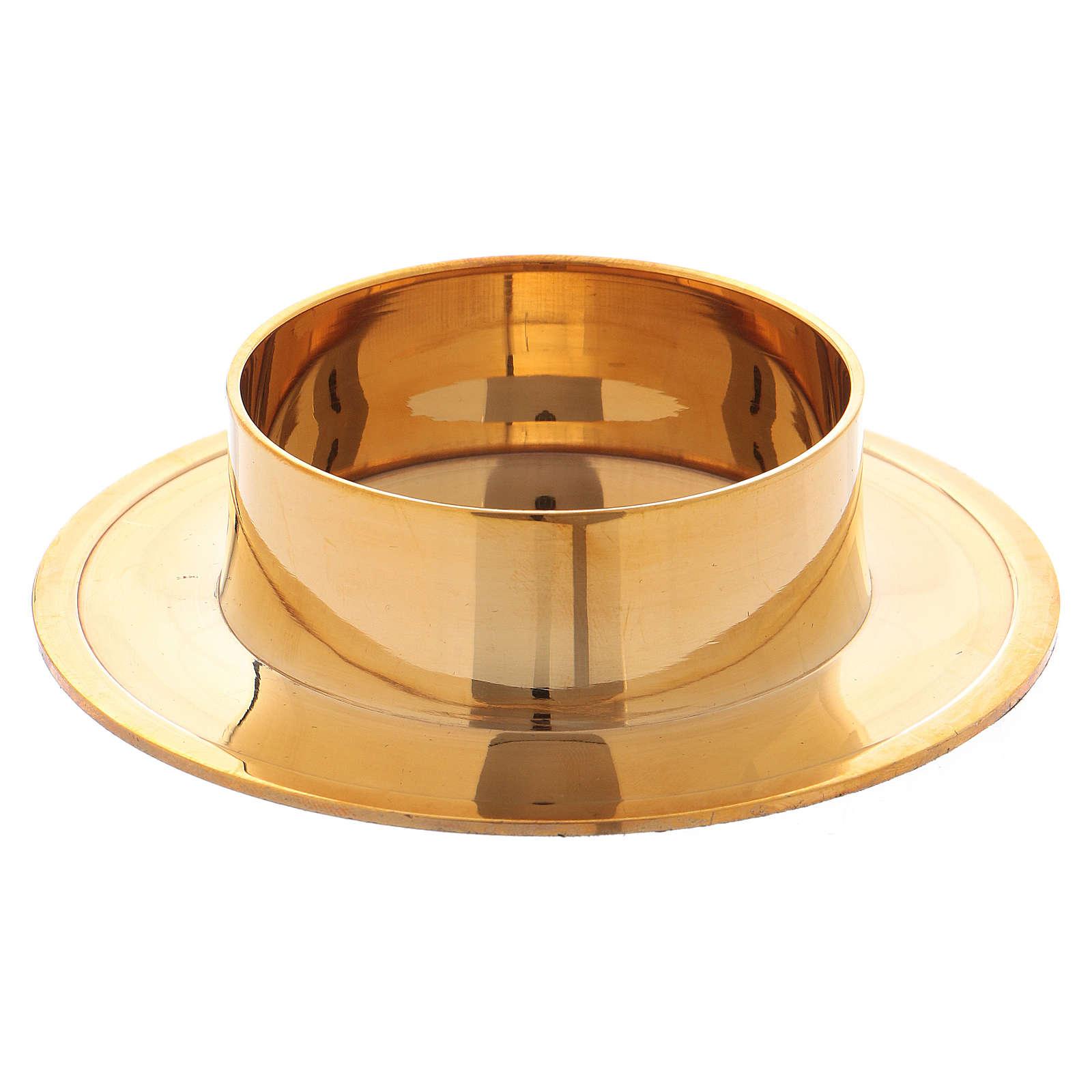 Portavela redondo de latón dorado lúcido 6 cm 4
