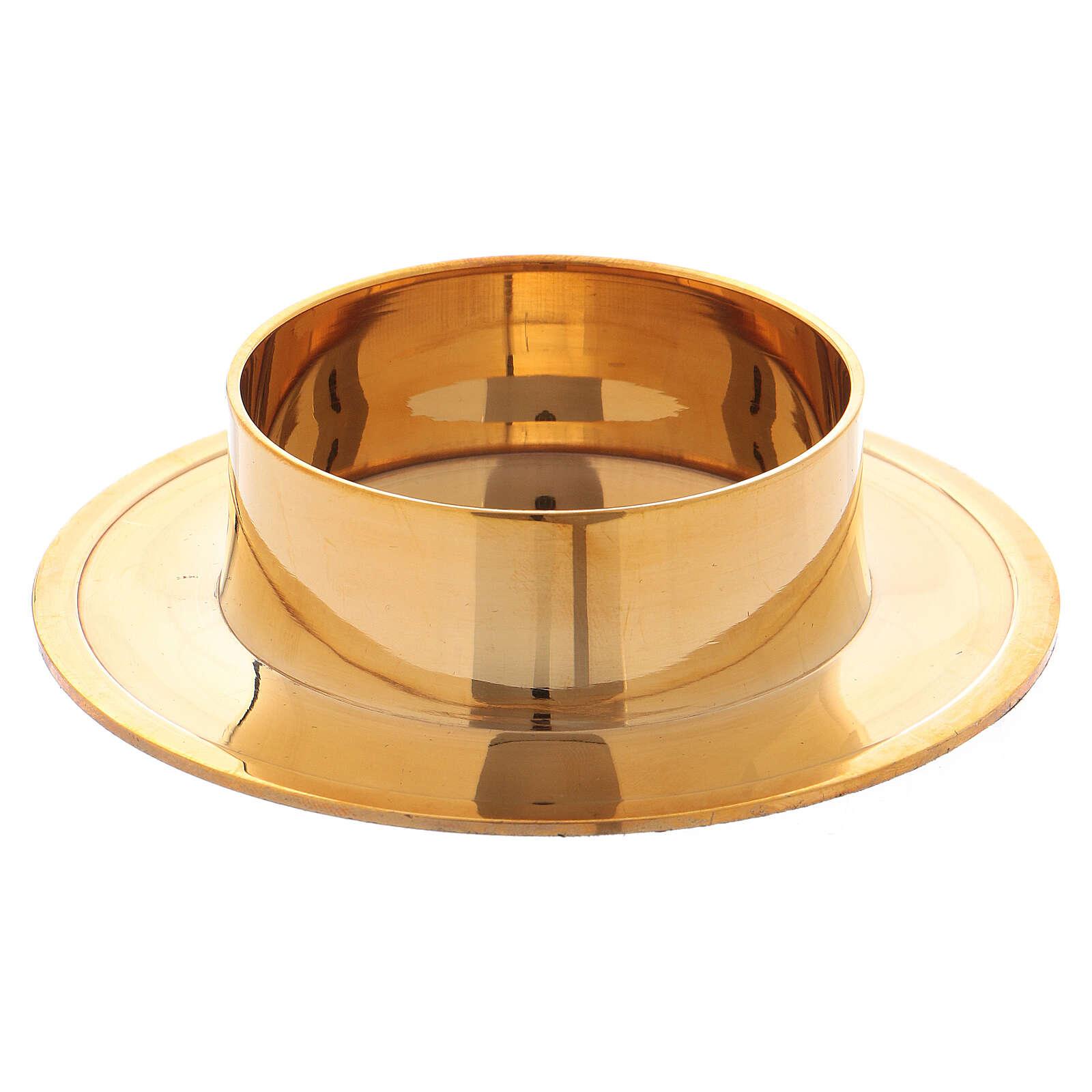 Castiçal redondo em latão dourado brilhante 6 cm 4