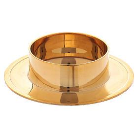 Castiçal redondo em latão dourado brilhante 6 cm s1