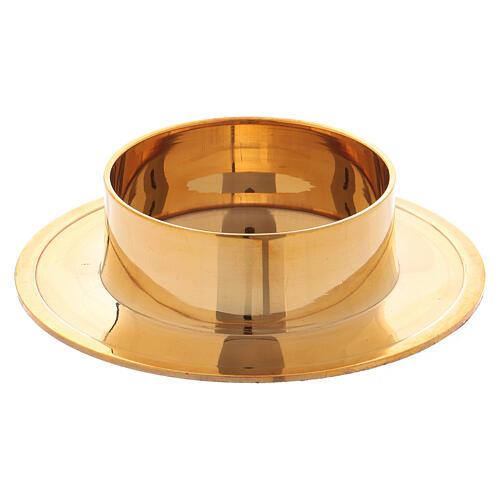 Castiçal redondo em latão dourado brilhante 6 cm 1