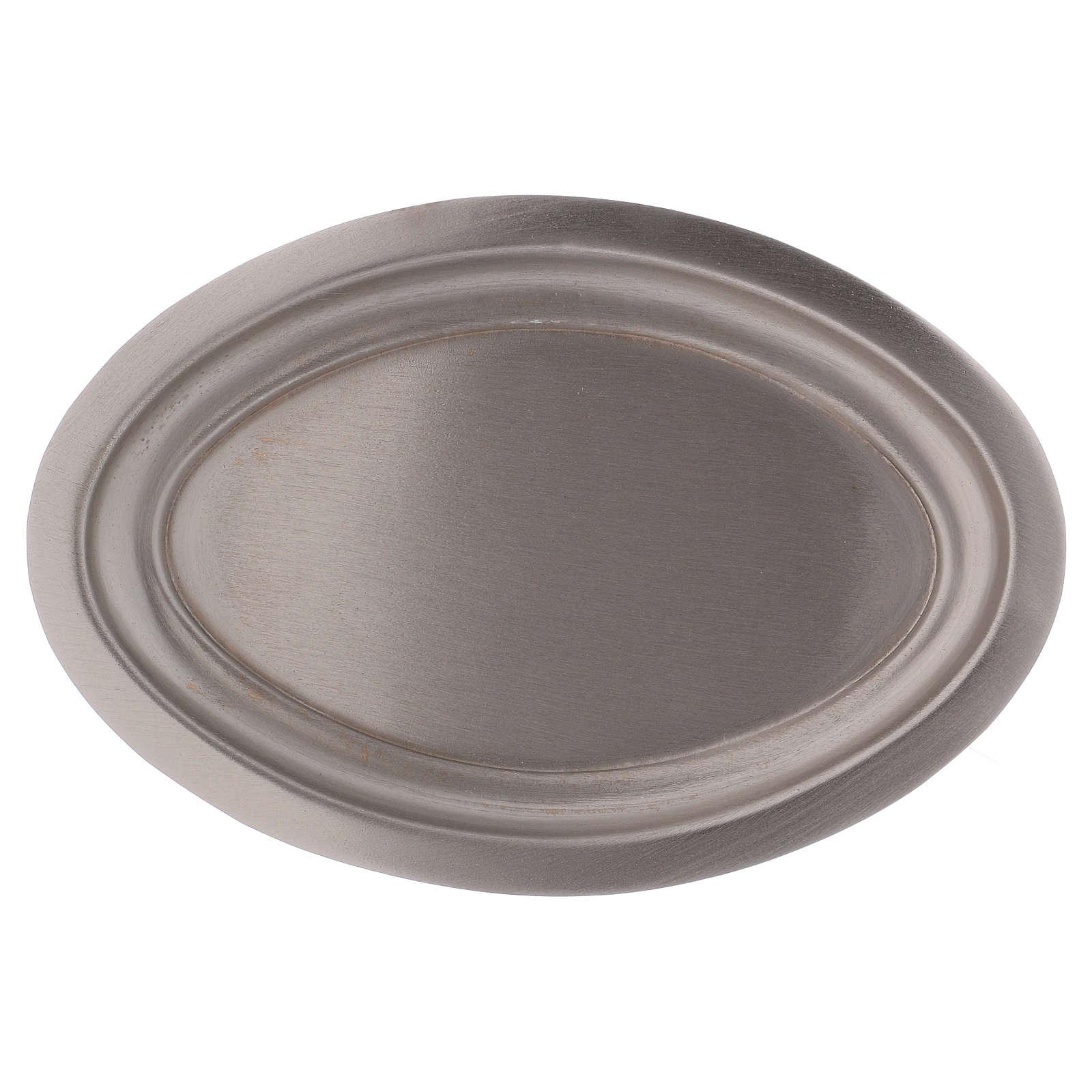 Piatto portacandele ovale in ottone argentato 16x9,5  3