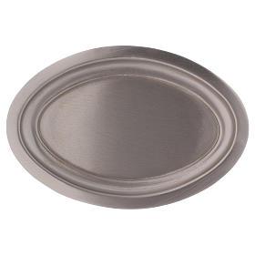 Piatto portacandele ovale in ottone argentato 16x9,5  s1