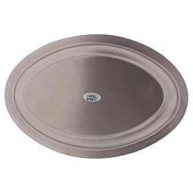 Piatto portacandele ovale in ottone argentato 16x9,5  s3