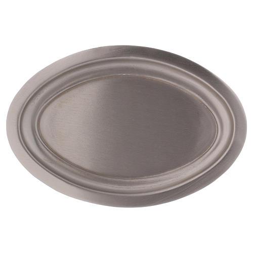 Piatto portacandele ovale in ottone argentato 16x9,5  1