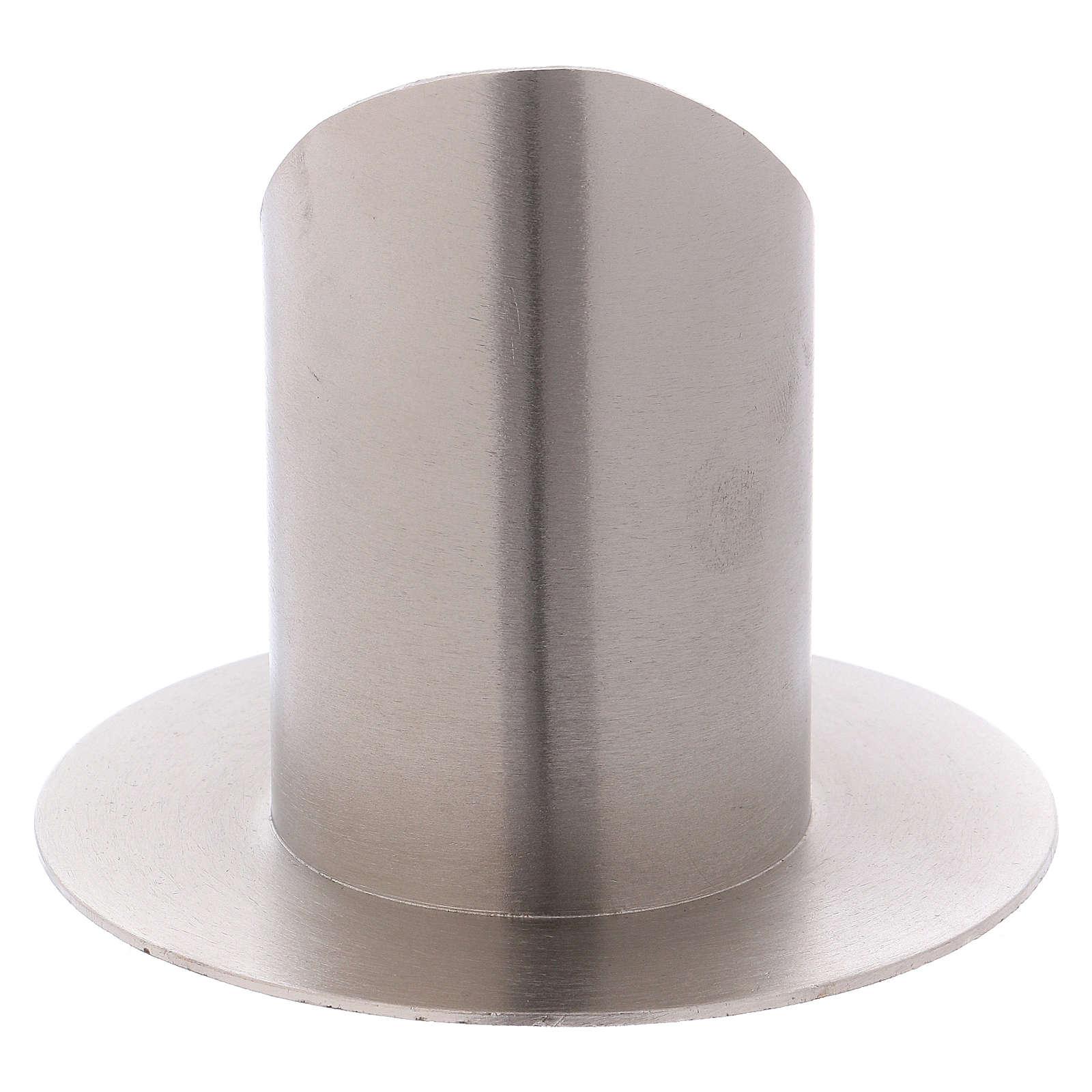 Portacandele ottone nichelato opaco tubo 6 cm 4