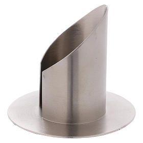 Portacandele ottone nichelato opaco tubo 6 cm s2