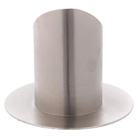 Portacandele ottone nichelato opaco tubo 6 cm s3