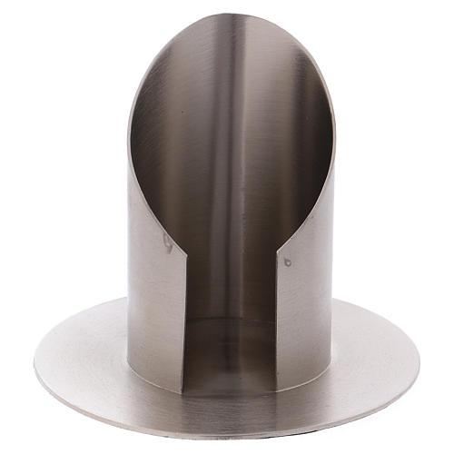 Portacandele ottone nichelato opaco tubo 6 cm 1