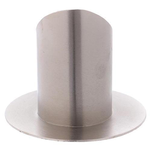Portacandele ottone nichelato opaco tubo 6 cm 3