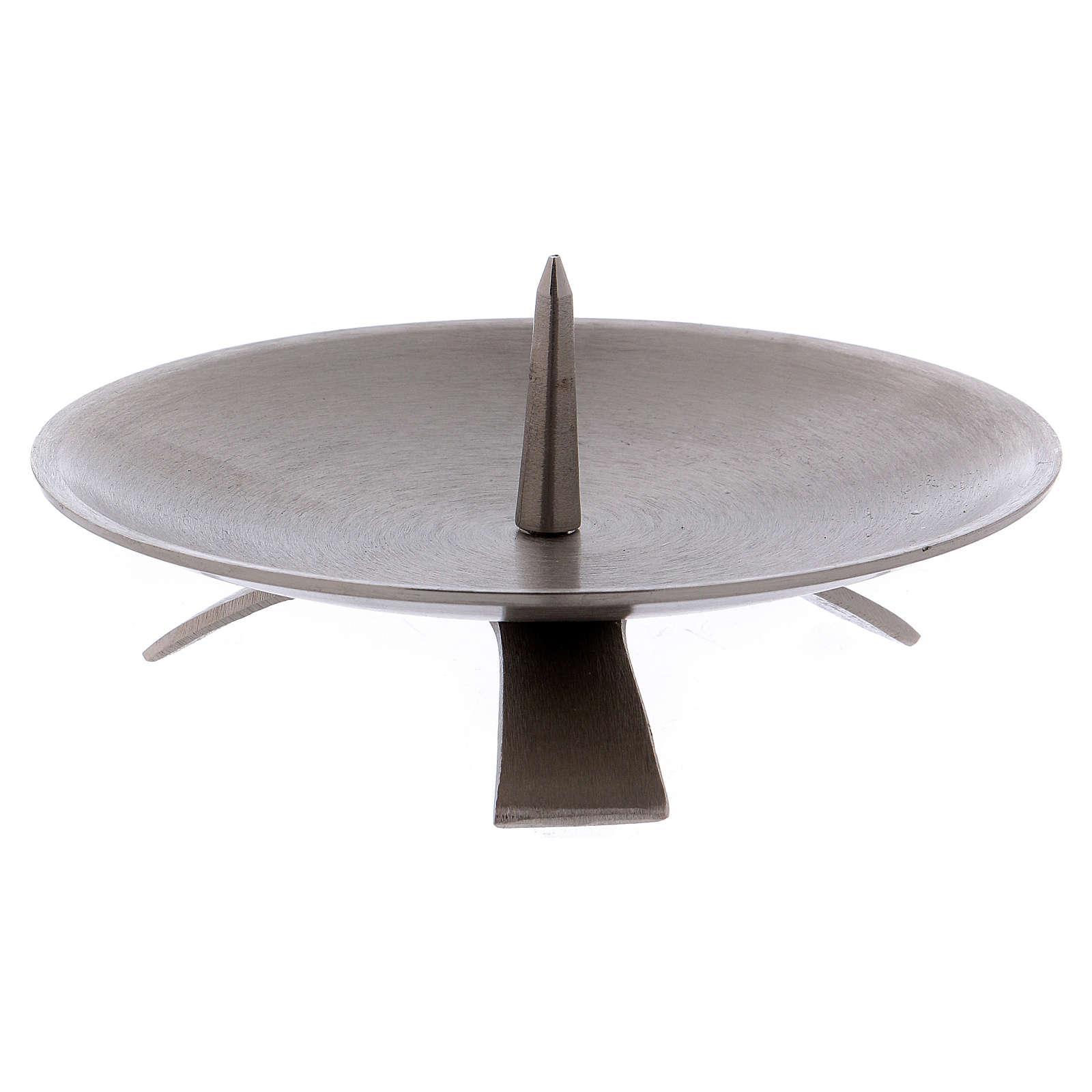 Portacandela treppiedi spuntone centrale 13 cm ottone argento opaco 4