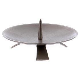 Portacandela treppiedi spuntone centrale 13 cm ottone argento opaco s2
