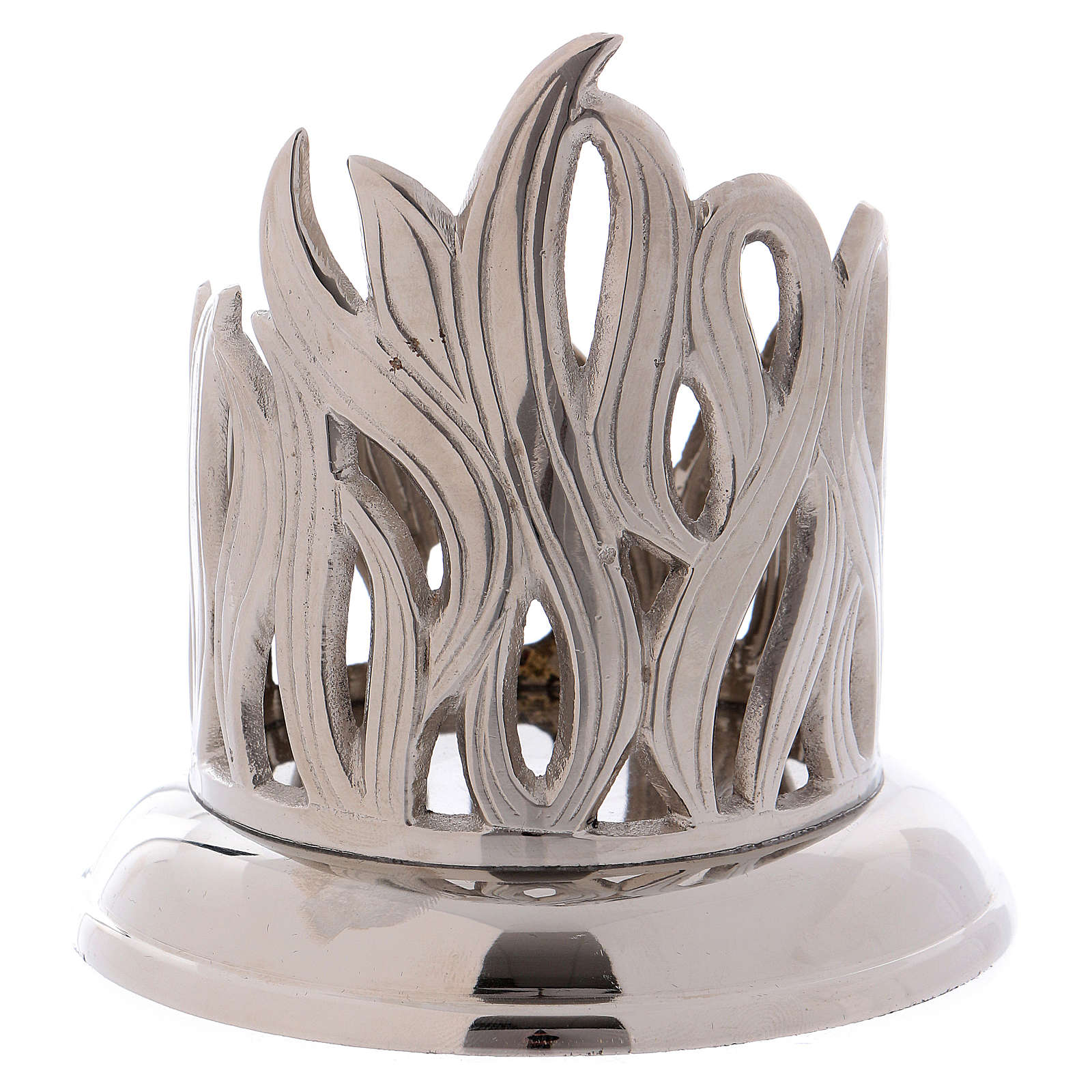 Candle holder in silver brass with flame decoration 7 cm 4