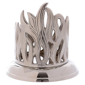 Candle holder in silver brass with flame decoration 7 cm s2
