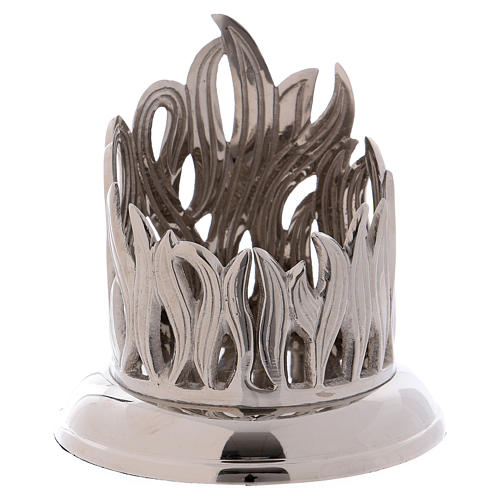 Candle holder in silver brass with flame decoration 7 cm 1