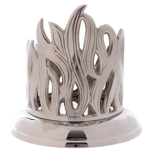 Candle holder in silver brass with flame decoration 7 cm 2