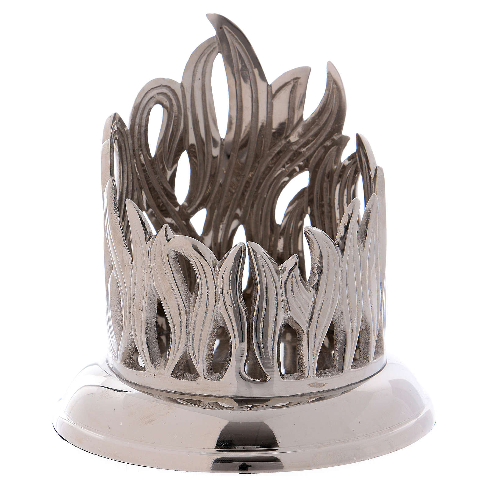 Portacandela ottone argento decoro fiamma 7 cm 4